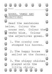 english worksheets colour the nouns verbs and adjectives