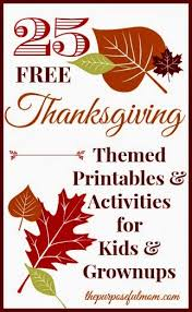 25 free thanksgiving themed printables for and grownups