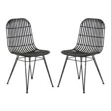 chaise kubu zago chaise en kubu et piètement en métal noir lot de 2 melody