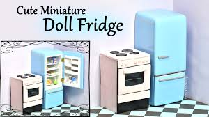 How To Make Doll Kitchen Cute Miniature Doll Fridge Polymer Clay Wood Tutorial Youtube
