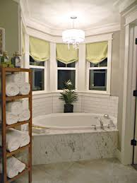decorating small master bathroom with bay window decoration