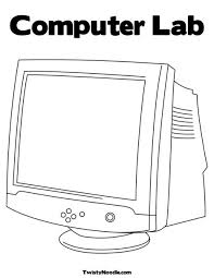 coloring book on computer black and white cartoon laptop computer