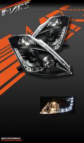 nissan 350z jdm for sale black led drl day time projector head lights for nissan z33 350z