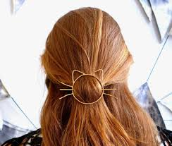 bun clip cat bun pin hair clip brass barette handmade cat whiskers bun
