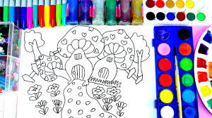 lovely house coloring page learn to color mushroom house drawing