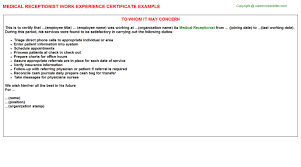 medical receptionist work experience certificate