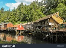 alaska house suspended houses on small alaskan river stock photo 576286699