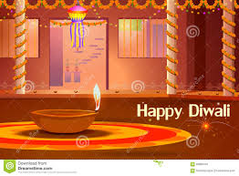 indian house decorated with diya in diwali night stock vector