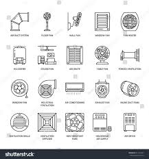 heating ventilating and air conditioning analysis and design ventilation equipment line icons air conditioning stock vector