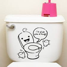 cute toilet seat cover sticker washroom home wall decor bathroom