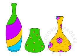 colored different shape flower pot coloring page
