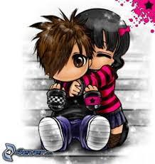 imagenes de amor con muñecos animados emo pareja
