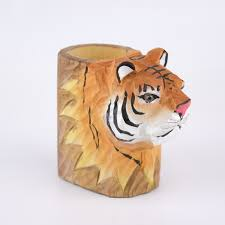 animal planter tiger hand carved wooden animal planter elemental bonsai tea garden