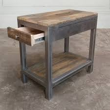 Reclaimed Wood And Metal End Table Side Table Nightstand With