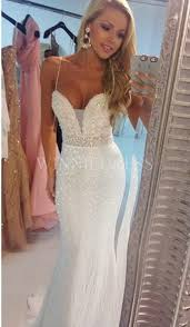 spaghetti wedding dress shop discount delicate beading spaghetti sequins mermaid