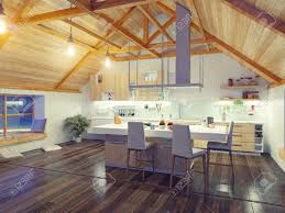 modern kitchen interior with island in the attic 3d design