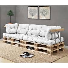 canapé coussins coussin canapé de palette de dossier blanc rembourré 60 x 40 x 20 10cm