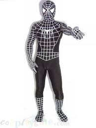 about white black spandex lycra spider man zentai suit a full
