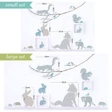 woodland animal wall stickers in blue and grey by koko kids woodland animal wall stickers in blue and grey