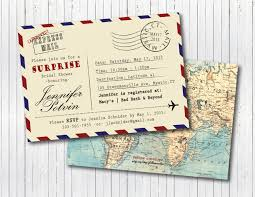 vintage travel theme post card stamped special delivery bridal