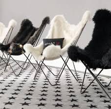 Black Butterfly Chair Tye Russian Black Mink Exotic Faux Fur Butterfly Chair Dark Steel