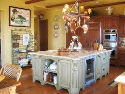 vintage wooden island painted with light green chalk paint color