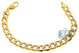 yellow bracelet images 10k yellow gold diamond cut cuban mens link bracelet 11mm 9 quot jpg