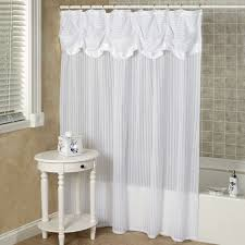 How To Make Curtain Swags Ruffled Double Swag Shower Curtain With Valance U0026 Tiebacks