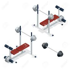 Adjustable Weight Bench Gym Adjustable Weight Bench With Barbell Isolated On White