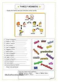 we learn about family members 2 pages esl worksheets 00