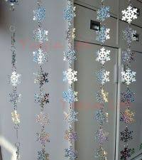 snowflake curtains will put in front of window with icy blue