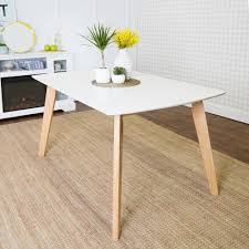 White And Wood Kitchen Table by Walker Edison Furniture Company Retro Modern White And Natural