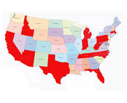 Us Map With State Names by Usa Lower 48 Map With State Names Each State Editable With Color