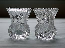 Cut Crystal Vases Antique Beautiful Vintage Crystal 24 Lead Cut Glass Toothpick Holder Pair