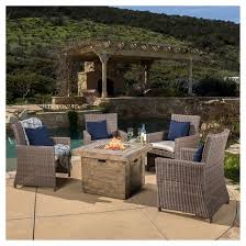 Fire Pit And Chair Set Barcelona 4pc Arm Chair Set With Sunbrella Cushions And The