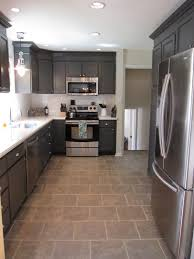 Painted Kitchen Floor Ideas Black White Shabby Chic Painted Kitchen Cabinets In Brown Interior