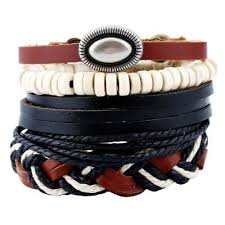leather wrap bracelet men images 4pcs set handmade rope leather bracelet man beads charm wrap jpg