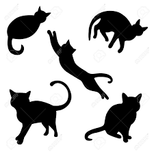 set of cat silhouettes royalty free cliparts vectors and stock