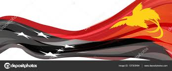 New Guinea Flag Black And Red With A Yellow Bird Of Paradise With White Stars In