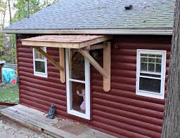 weekndr project front door cedar awning roof overhang garage