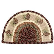 Half Round Kitchen Rugs Amazon Com Pinecone Half Round Braided Lodge Rug Cabin Decor