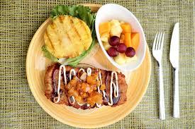 hawaiian fusion cuisine hawaiian japanese fusion food chicken burger stock photo image of
