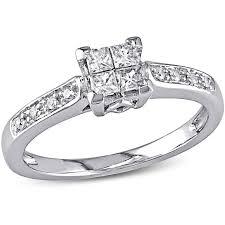 engagement ring walmart miabella 1 4 carat t w princess and cut engagement