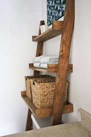 Leaning Bookcase Woodworking Plans by Ana White Over The Toilet Storage Leaning Bathroom Ladder