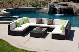 Square Sectional Sofa Furniture Outdoor Sectional White Sofa U Shaped Set With Rattan