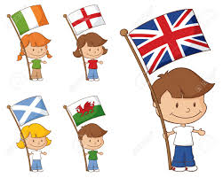 Holding The Flag Kids Holding Flags From The Uk And Eire Lizenzfrei Nutzbare