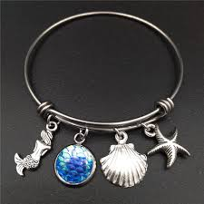 bangle charm bracelet diy images Stainless steel expandable wire bangle beach sea mermaid charm jpg