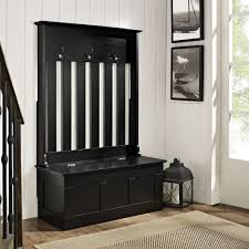 Entryway Bench And Storage Shelf With Hooks Storage Bench With Baskets And Cushion Solid Wood Entryway