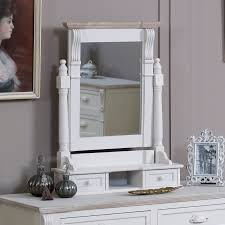 cream wooden dressing table mirror drawers shabby french chic