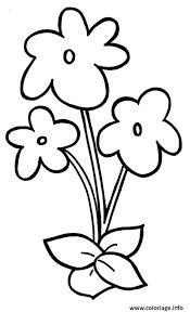 coloriage fleurs rose facile 111 dessin